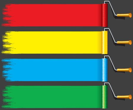roller brush: Red, Yellow, Blue and Green Paint Roller Brush. Vector Set