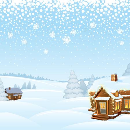 snowy hill: Snowy Day Rural Winter Landscape. Vector Illustration