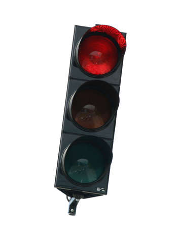 close-up photo of traffic lights, glowing red color to stop traffic