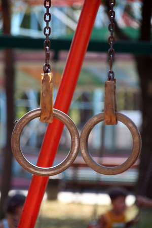 projectile: the rings - gymnastic projectile on chains for  training Stock Photo