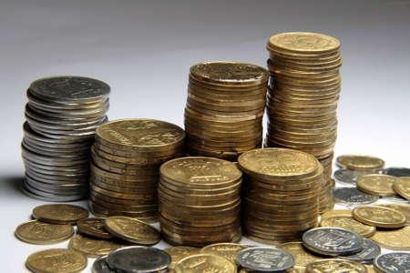 2 50: Various ukrainian coins, 50, 25, 10, 5, 2 values Stock Photo
