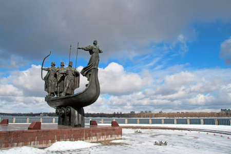 founders: The monument dedicated to founders of Kiev was built in a scenic park on the banks of Dnieper in 1982. It consists of the copper-forged boat with a more-than-natural figures of three brothers Kyi, Schek, Horiv and their sister Lybid. These four are the my Stock Photo