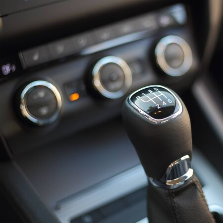 gearshift: Gearshift in the car.Handle a manual transmission Stock Photo
