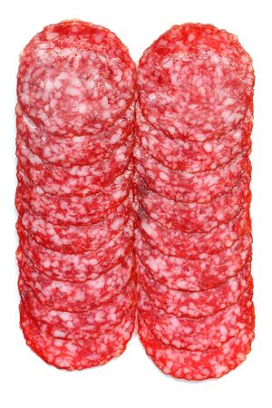 sliced salami on a white. Close up. Isolated on white