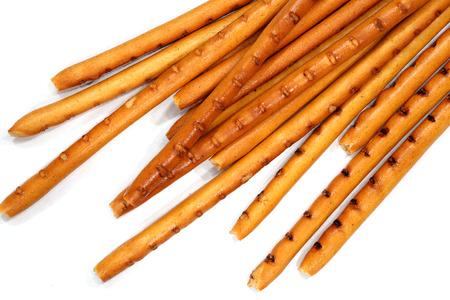 pretzel stick: Breadsticks on white.Isolated breadsticks on white.
