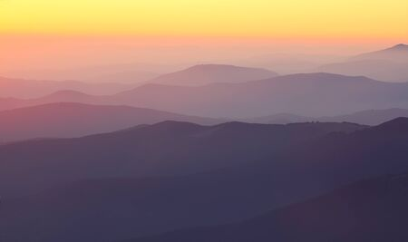 great smokies: mountain peaks at sunset. sunset haze