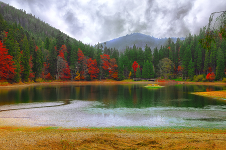 fall beauty: picturesque lake in the autumn forest. Mirror reflection