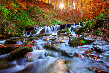 Hermosa cascada en el bosque al atardecer. Paisaje de otoño, hojas caídas, flujo de agua. Foto de archivo - 48567685