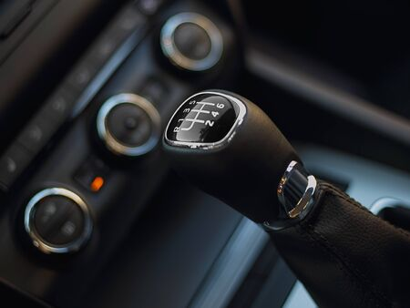 reversing: Gearshift in the car.Handle a manual transmission Stock Photo