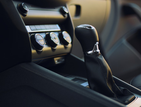Gearshift in the car.Handle a manual transmission Banco de Imagens
