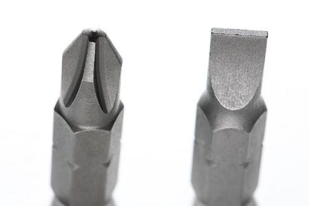 gamme de produit: screwdriver bits  on white background. Mirror reflected