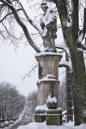townscape: St. John of Nepomuk in Czestochowa. Winter townscape. City in winter time
