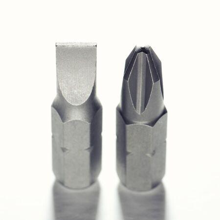 product range: screwdriver bits on white background. Isolated on white