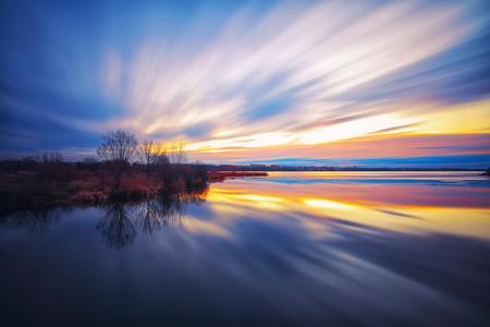 long lake: twilight at lake. Long exposure shoot