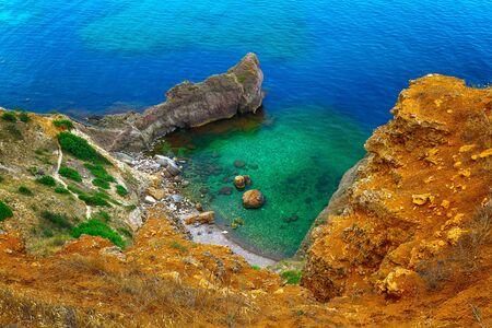 blue lagoon: Aerial view of a Blue Lagoon at cape Fiolent. Crimea Stock Photo