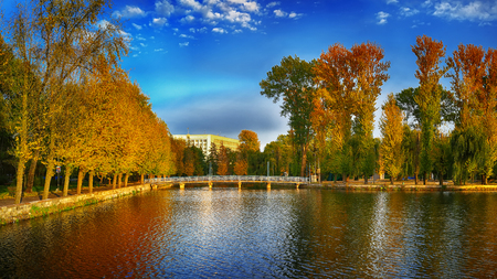 beautiful autumn park at sunny weather. Dramatic sky. Colourful folliage Stock Photo