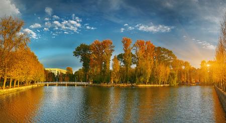 fall landscape: beautiful autumn park at sunny weather. Dramatic sky