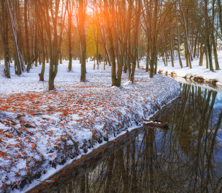 Winter Landscape With Frozen River Stock Photo, Picture And ...