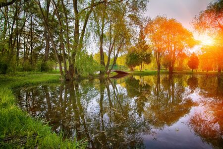 Estanque tranquilo con una exuberante verde del parque del arbolado en la sol. Reflexión de árboles en el agua Foto de archivo - 67099473