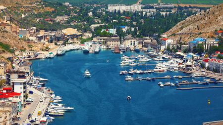 Balaklava Bay in Sevastopol city from the height. Crimea
