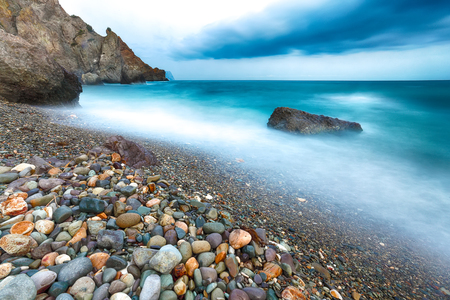long exposure of sea and rocks. Beautiful seascape