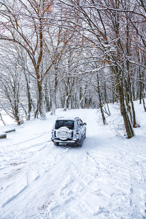 single car on a winter road in the forest. Lots of snow at winter Stockfoto