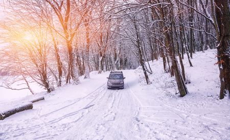single car on a winter road in the forest. Lots of snow at sunset