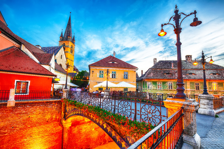 Evangelical Cathedral and the Liars Bridge in the center of Sibiu, Transylvania, Romania, Europe