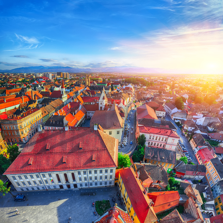 Old Town of Sibiu city seen from cathedral bell tower, view with Huat Square on foreground. Aerial cityscape of Sibiu town. Impressive morning scene of Transylvania, Romania, Europe Stock fotó