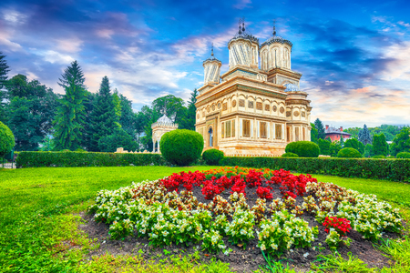 The Cathedral of Curtea de Arges, Romanian Orthodox Monastery. Curtea de Arges, Landmark of Wallachia. Romania