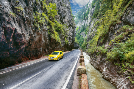 Amazing summer view of Bicaz CanyonCheile Bicazului. Canyon is one of the most spectacular roads in Romania. Impressive  scene of Neamt County, Romania,Carpathian Mountains, Europe 写真素材