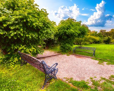 Bänke im öffentlichen Garten Herastrau (König Mihai I. von Rumänien Park). Fantastischer sonniger Tag im grünen Sommerpark. Bukarest, Rumänien, Europa
