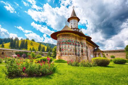 Splendid summer scene of Sucevita Monastery Romanian Orthodox monastery. Eastern Orthodox Church, built in 1585 by Ieremia Movila, commune of Sucevitai, Bukovina region, Romania, Europe