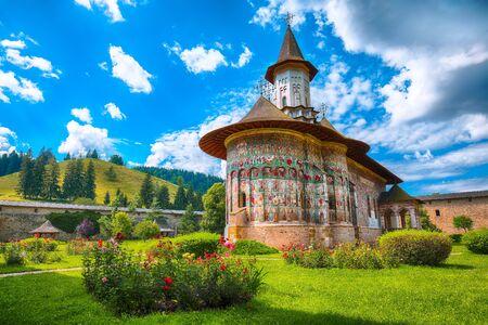 Splendid summer scene of Sucevita Monastery Romanian Orthodox monastery. Eastern Orthodox Church, built in 1585 by Ieremia Movila, commune of Sucevitai, Bukovina region, Romania, Europe