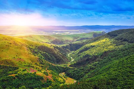 Turda gorge Cheile Turzii is a natural reserve with marked trails for hikes on Hasdate River situated near Turda close to Cluj-Napoca, in Transylvania, Romania, Europe. Hasdate riverbed