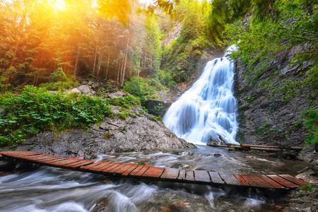 View of Brides Veil  Valul Miresei Waterfall. Dramatic scene in Apuseni Natural Park, Cluj County, Transylvania, Romania, Europe. Reklamní fotografie