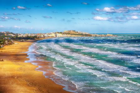 Vieste and Pizzomunno beach view, Gargano peninsula, Apulia, southern Italy, Europe.