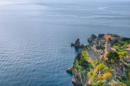 Panoramic aerial view of city Taormina. Giardini-Naxos bay, Ionian sea coast, Taormina, Sicily, Italy.
