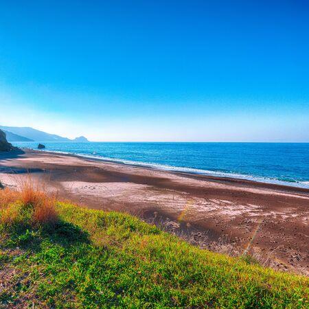 Fantastic view of beach Torre Conca (cape Rais Gerbi). Sunny scene. Location Pollina. Tyrrhenian sea. Sicilia, Italy, Europe Foto de archivo - 134180706