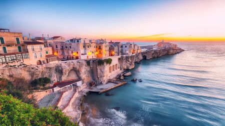 Vieste - beautiful coastal town on the rocks in Puglia. The church of San Francesco di Vieste. Gargano peninsula, Apulia, southern Italy, Europe. Reklamní fotografie