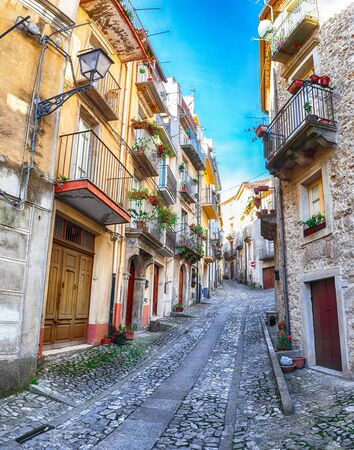 Panorama of old town streets of Mountain village Novara di Sicilia, Sicily, Italy