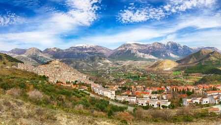 Panoramic view of Morano Calabro. One of the most beautiful villages (medieval borgo) in Calabria. Italy. Stockfoto