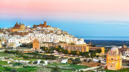 Ostuni white town skyline and Madonna della Grata church, Brindisi, Apulia southern Italy. Europe.