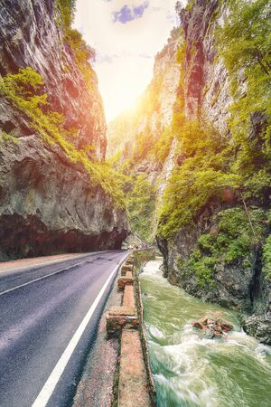 Amazing summer view of Bicaz Canyon/Cheile Bicazului. Canyon is one of the most spectacular roads in Romania. Impressive  scene of Neamt County, Romania,Carpathian Mountains, Europe