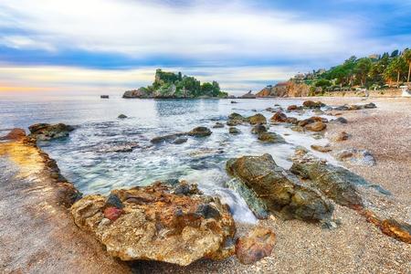 View of Isola Bella island and beach in Taormina. Giardini-Naxos bay, Ionian sea coast, Taormina, Sicily, Italy.