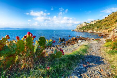 Dramatic spring sunset on the the cape Milazzo panorama of nature reserve Piscina di Venere. Location: cape Milazzo, Island Sicilia, Italy, Europe. Mediterranean and Tyrrhenian sea
