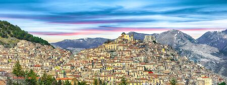 Panoramic view of Morano Calabro. One of the most beautiful villages (medieval borgo) in Calabria. Italy. 스톡 콘텐츠