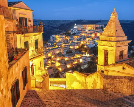 Sunset  at the old baroque town of Ragusa Ibla in Sicily. Ragusa Ibla cityscape at night in Val di Noto. Ragusa, Sicily, Italy, Europe.