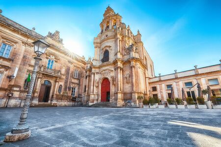 Architectural details of San Giuseppe church. Historic center builded in late Baroque Style. Ragusa, Sicily, Italy, Europe.