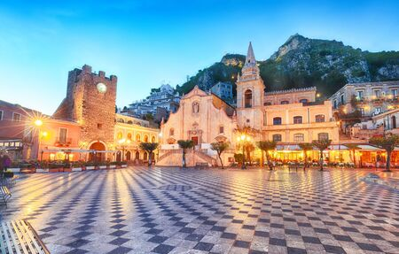 Belvedere of Taormina and San Giuseppe church on the square Piazza IX Aprile in Taormina. Sicily, Italy 스톡 콘텐츠 - 128875937